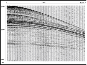 Wave field with amplitudes, recovered after noise rejection.