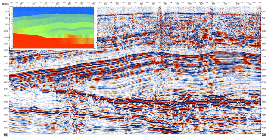Result of depth migration in layered model. Depth-velocity model, that was used for migration is shown on the left.