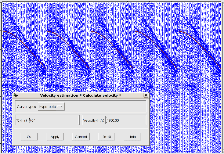 Example of interactive velocity estimation on gathers.