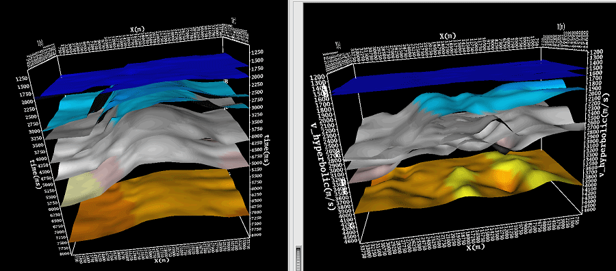 Surfaces can be created by horizons interpolation. Depth surfaces are shown on the left. Interval velocities are shown on the right.