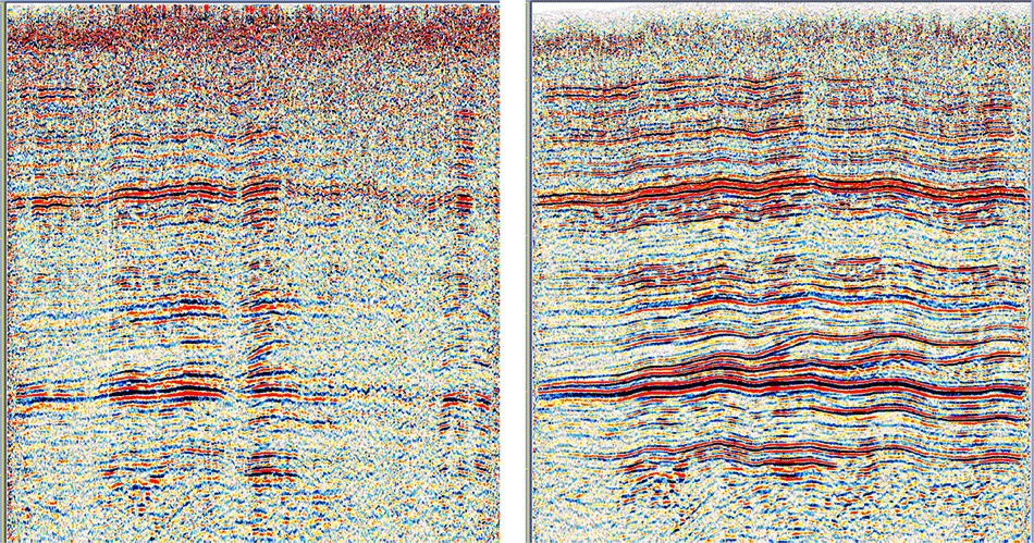 Initial data (on the left), shot-period static correction (on the right).